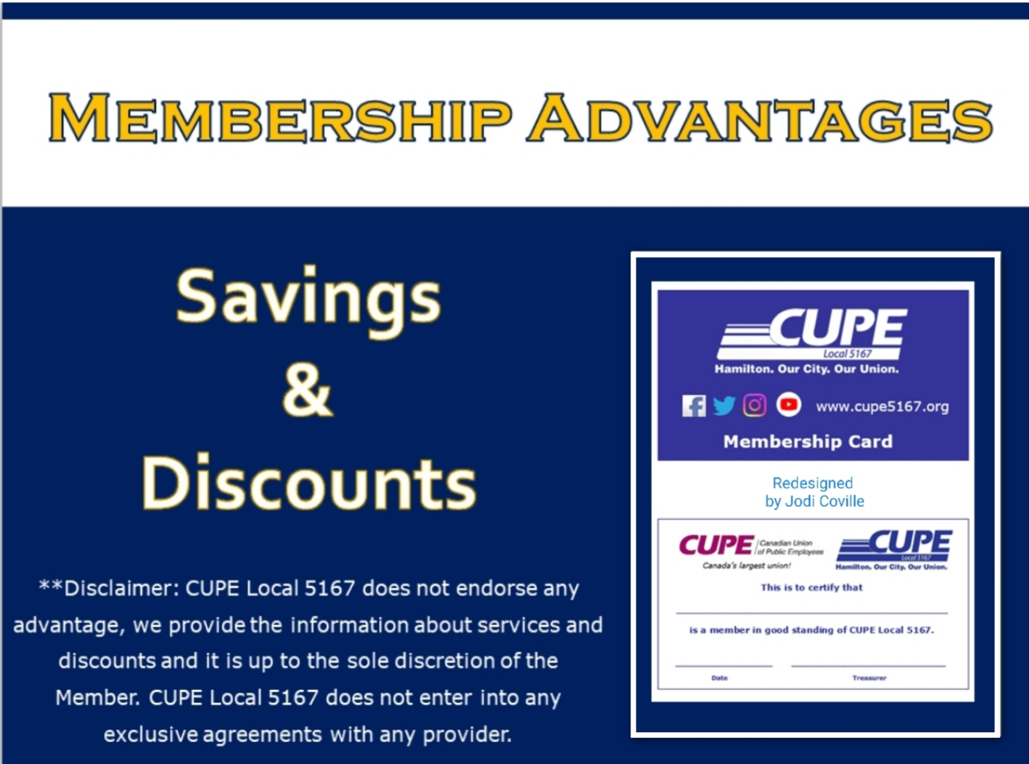 Member Advantages Cupe Local 5167